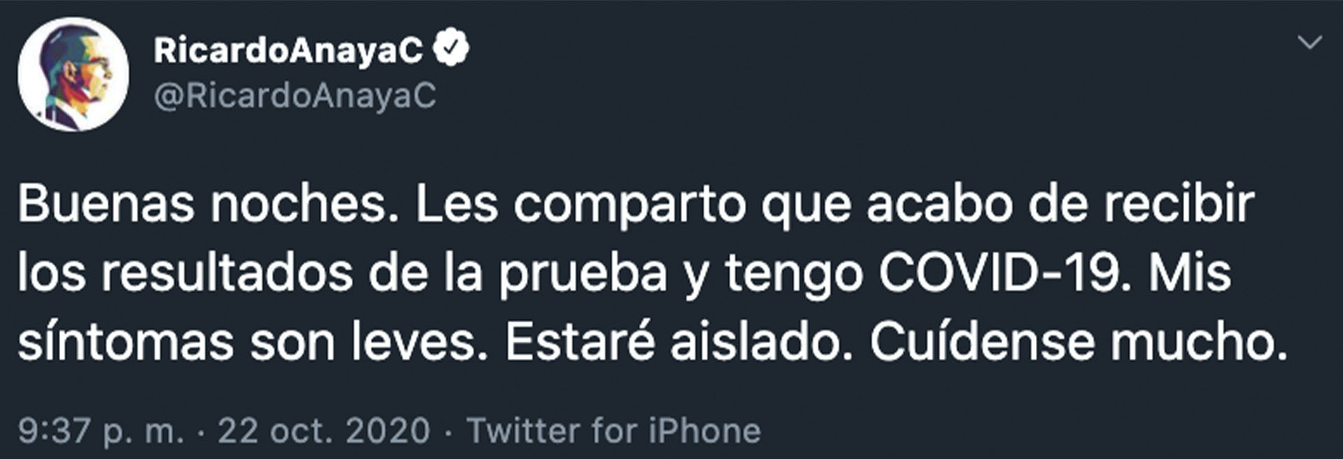 Anaya no detalló si algún miembro de su familia contrajo la enfermedad, pues según lo que ha externado, vive con ellos en Querétaro (Foto: Twitter@RicardoAnayaC)