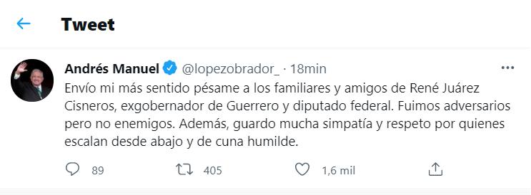 AMLO destacó la carrera política de Juárez Cisneros (Foto: captura de pantalla de Twitter @lopezobrador_)