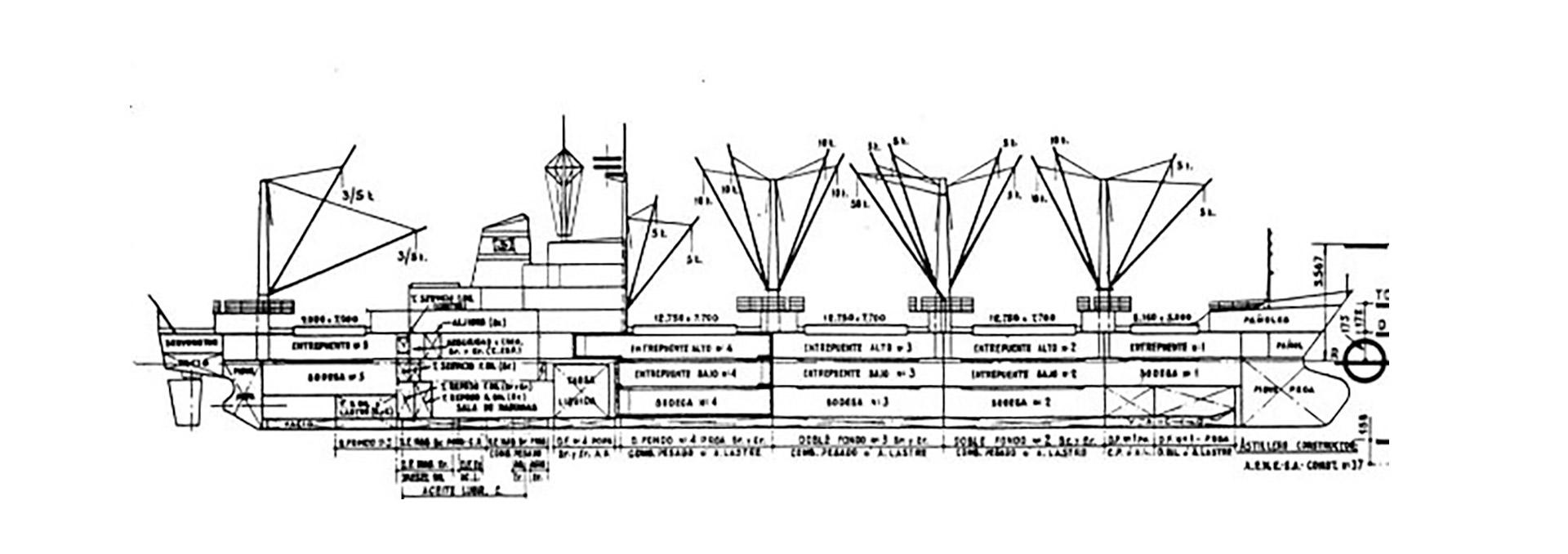 """El plano de distribución de bodegas del """"Rio Cincel"""". La nave poseía cuatro bodegas a proa y una a popa"""