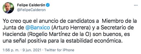 Felipe Calderón lo consideró una señal positiva para la estabilidad económica (Foto: Twitter@FelipeCalderon)