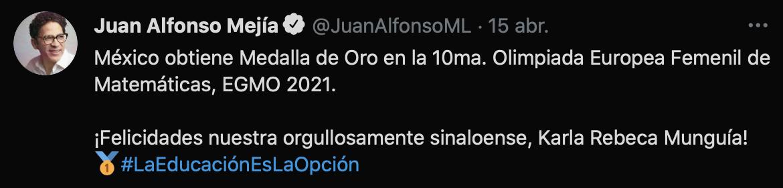 Juan Alfonso Mejía, secretario de Educación de Sinaloa, reconoció el logro de la joven de 17 años (Foto: captura de pantalla / Twitter@JuanAlfonsoML)