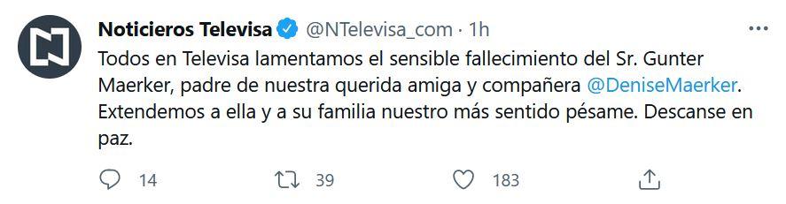 La noticia fue dada a conocer por colegas de Gunter Maerker, después fue confirmada por Televisa (Foto: Captura de pantalla)