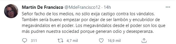 Foto: Twitter Martín De Francisco