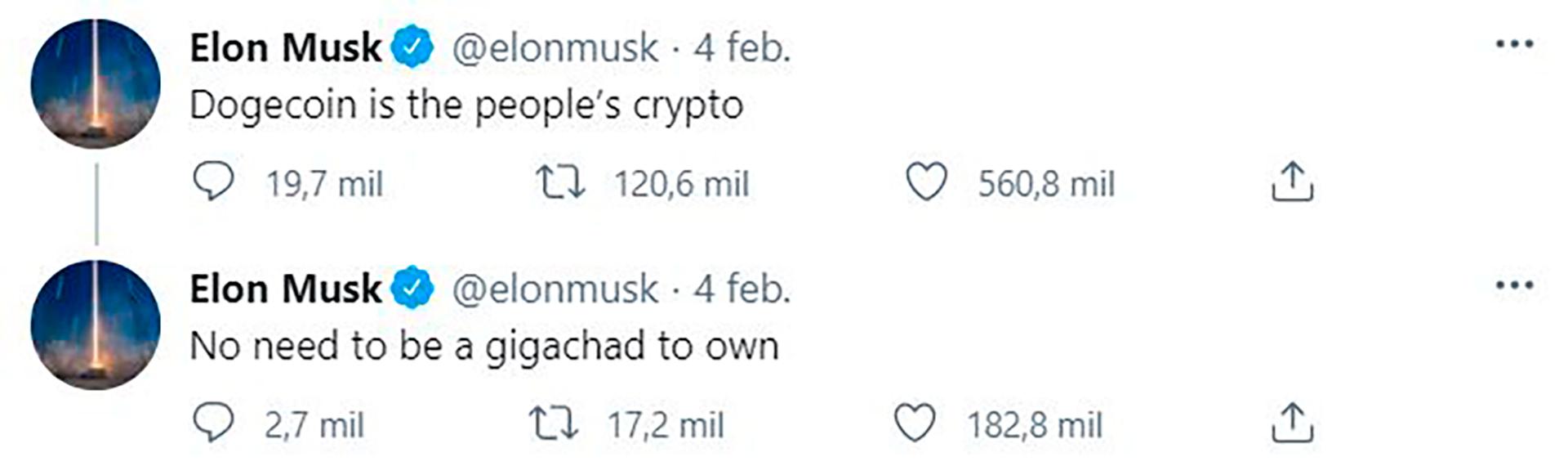 """""""Dogecoin, la moneda de la gente"""", tuitea Elon Musk desde su cuenta"""