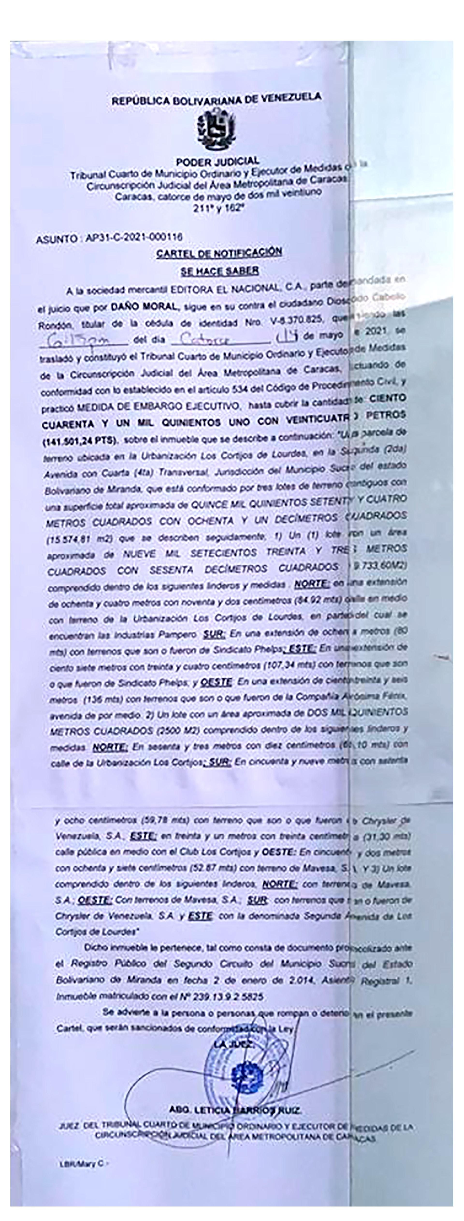 El cartel de notificación del embargo a El Nacional