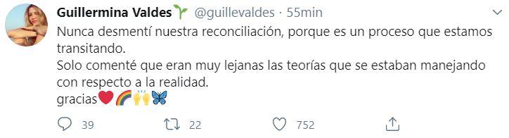 El tuit de Valdés admitiendo la reconciliación