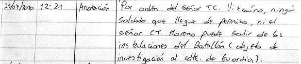 Orden de restricción de salida del batallón al capitán Ronal Moreno suministrada por la familia a la revista Semana.