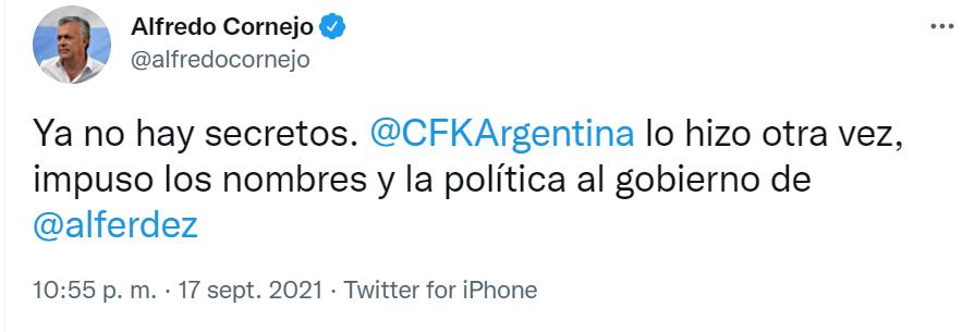 El mensaje de Alfredo Cornejo