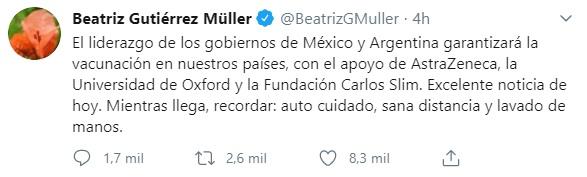 La escritora Beatriz Gutiérrez reconoció la labor que realizarán México y Argentina en la manufactura de la vacuna contra coronavirus (Foto: Twitter@BeatrizGMuller)