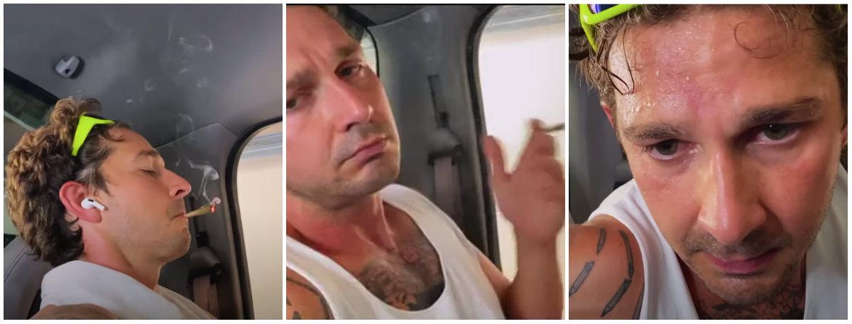 Shia LaBeouf se mostró ansioso mientras fumaba un cigarro extraño y sudaba profusamente Foto: Captura de pantalla