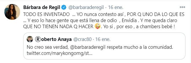 """""""Todo es inventado"""", aseguró (Foto: Twitter @barbaraderegil)"""