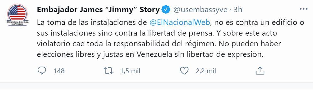 Tweet del embajador de Estados Unidos ante Venezuela por el embargo de El Nacional
