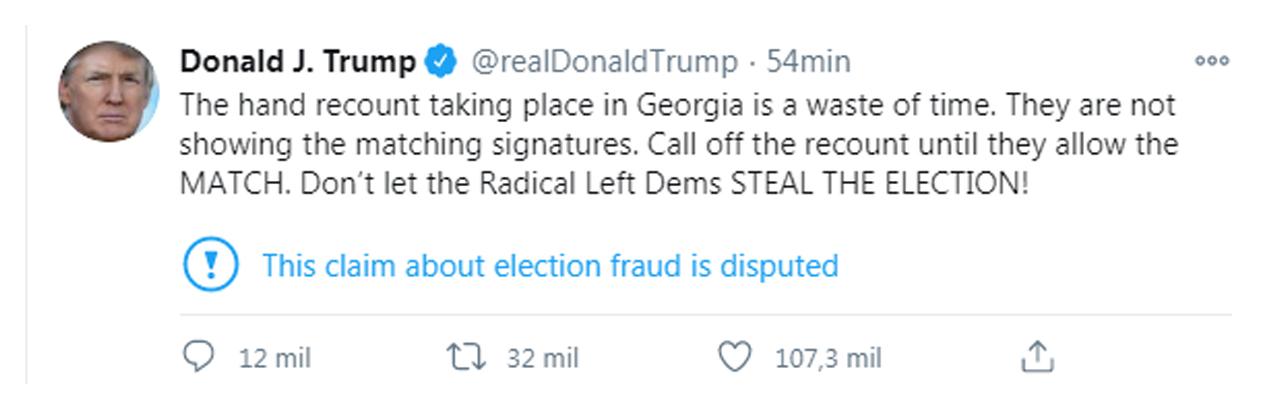Tuit Donald Trump pidiendo que se detenga el conteo en Georgia