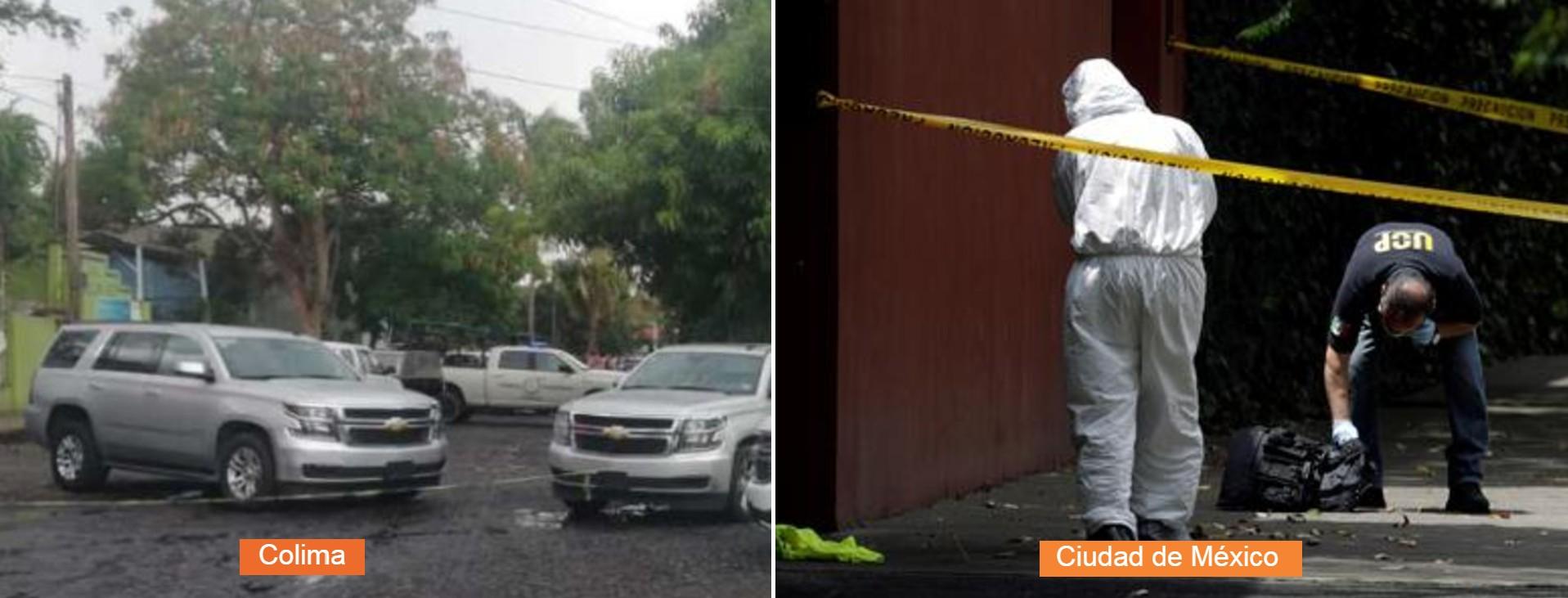 El CJNG aumentó el nivel de afrenta con el gobierno mexicano. La primera imagen muestra la escena del crimen donde murió el Juez Uriel Villegas y su esposa. La segunda fotografía pertenece al intento de asesinato contra el jefe de la policía de la CDMX