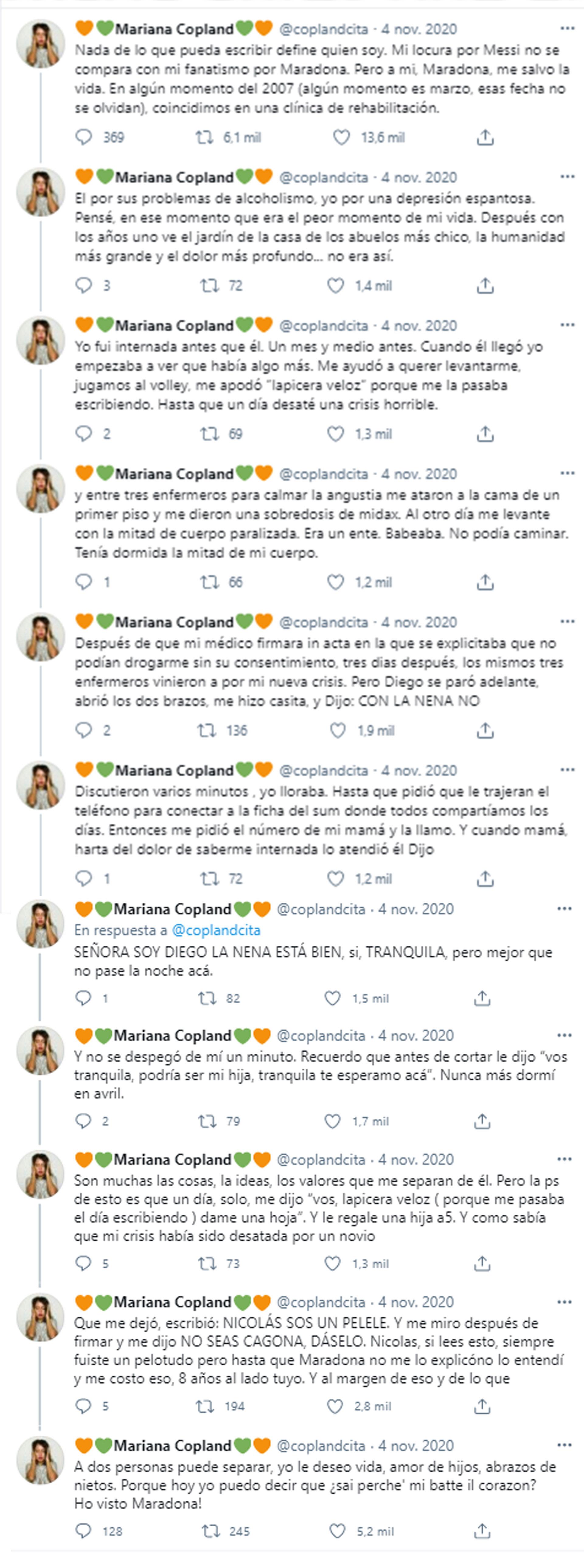 Mariana relató su historia con Maradona en noviembre pasado pero se viralizó en las últimas horas