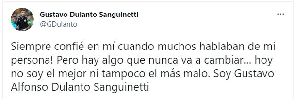 Gustavo Dulanto en Twitter.