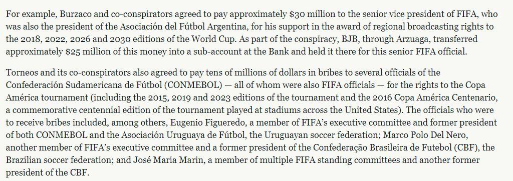 """""""Acordaron pagar aproximadamente US$30 millones al vicepresidente senior de la FIFA, quien también fue presidente de la Asociación del Fútbol Argentina"""", informó el comunicado"""