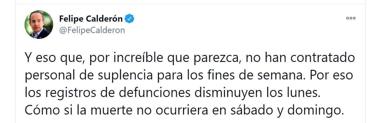 """Cómo si la muerte no ocurriera en sábado y domingo"""": Felipe Calderón  arremetió contra López-Gatell - Infobae"""