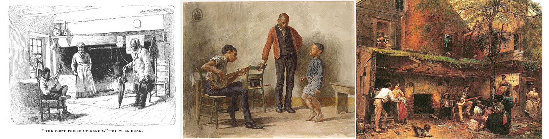 Grabado de Walter M. Dunk y pinturas de Thomas Eakins e Eastman Johnson