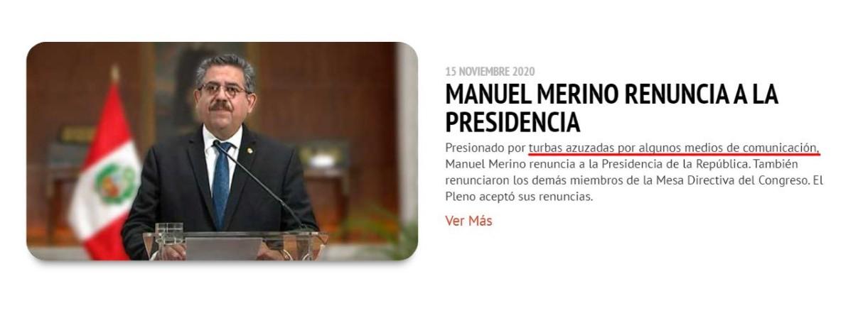 Manuel Merino y su renuncia a la presidencia fue el centro de la polémica en una publicación del Congreso de la República. (Twitter)
