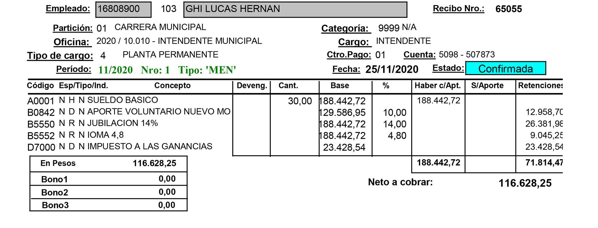 El único intendente del conutbano que publica su recibo online es Lucas Ghi, de Morón (Frente de Todos).