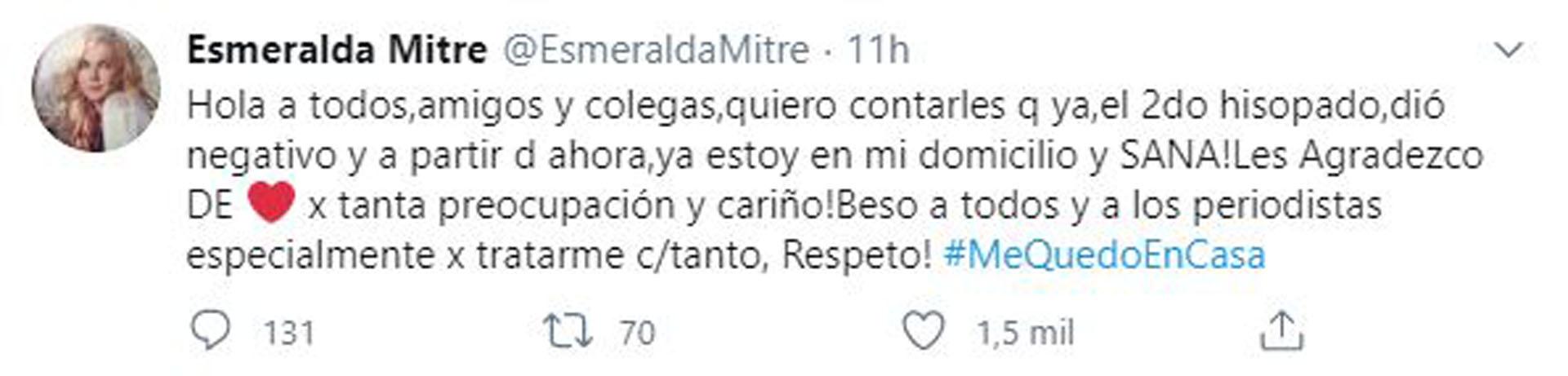 El mensaje de Esmeralda Mitre (Foto: Twitter)
