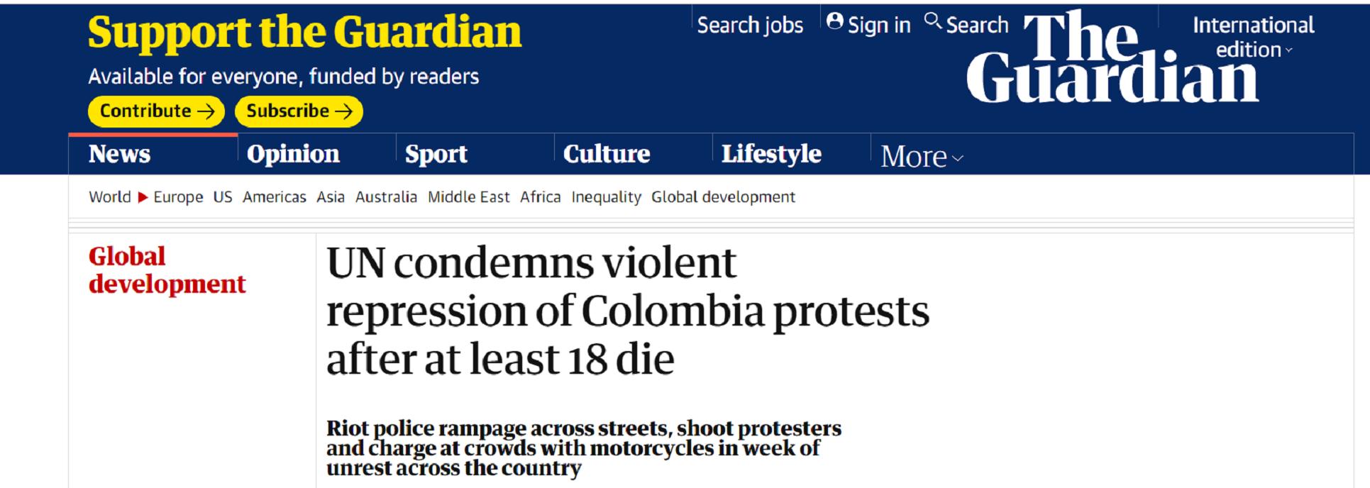 Artículo de The Guardian sobre las protestas en Colombia. Foto: The Guardian.