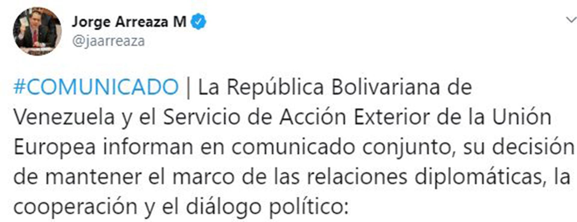 El tuit de Jorge Arreaza