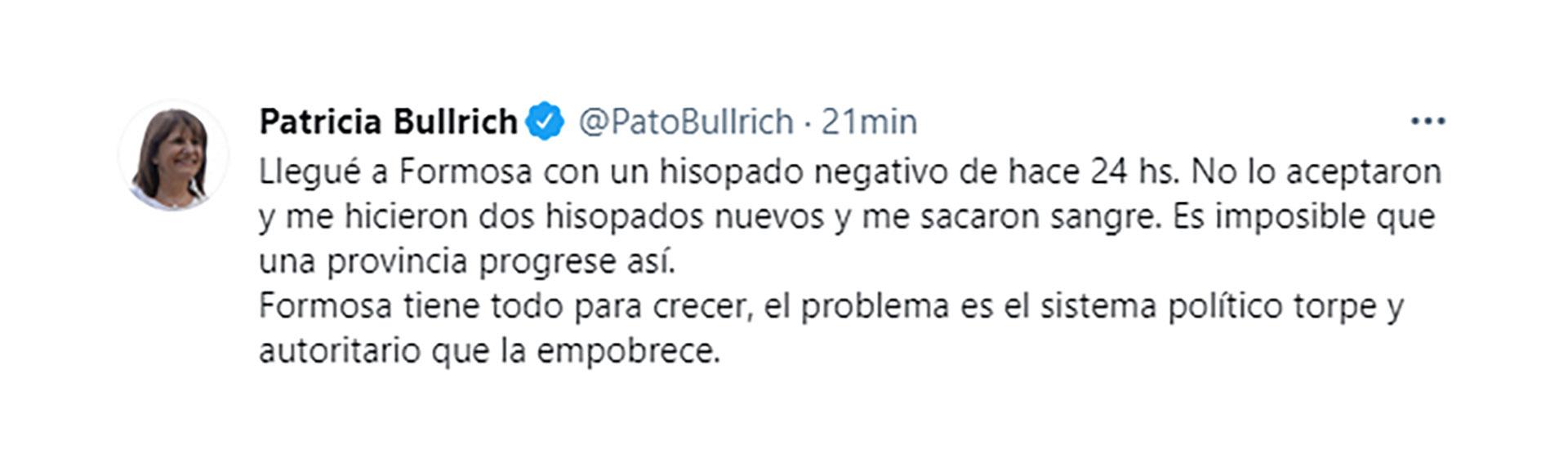 El tuit de Bullrich tras llegar a Formosa