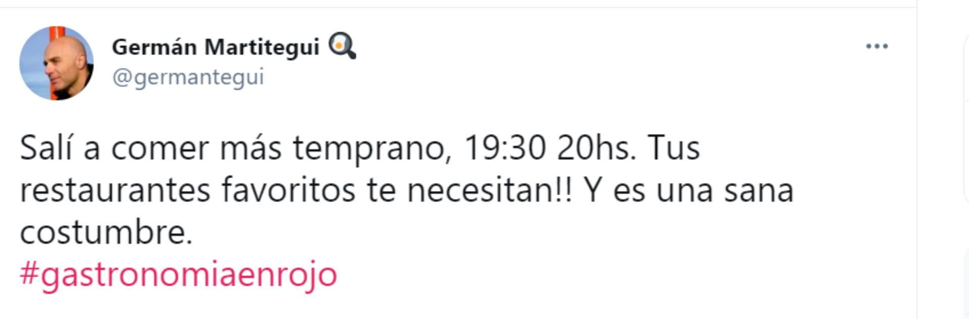 El mensaje de Martitegui en Twitter