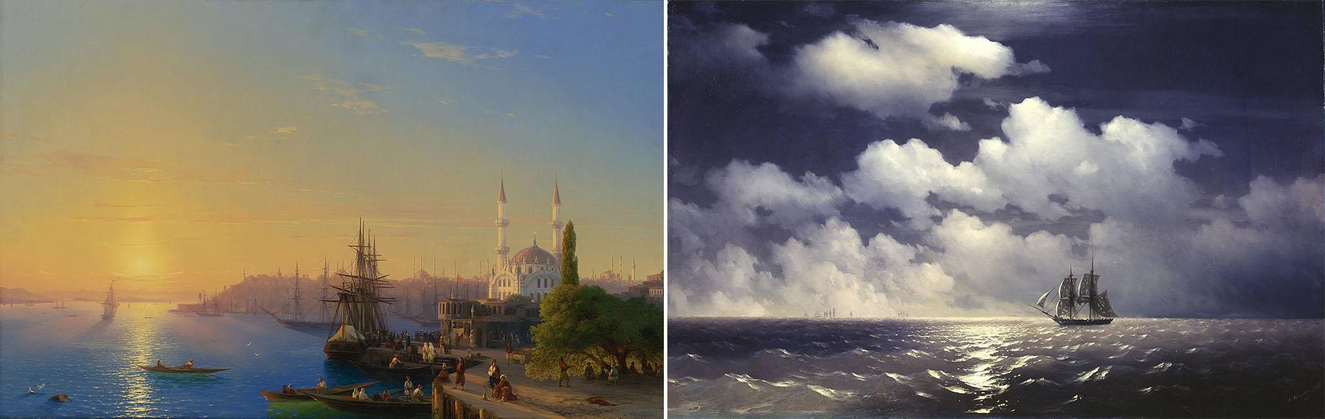 """""""Vista de Constantinopla"""" (1846) y """"Mercurio después de una victoria sobre dos buques turcos"""" (1848)"""