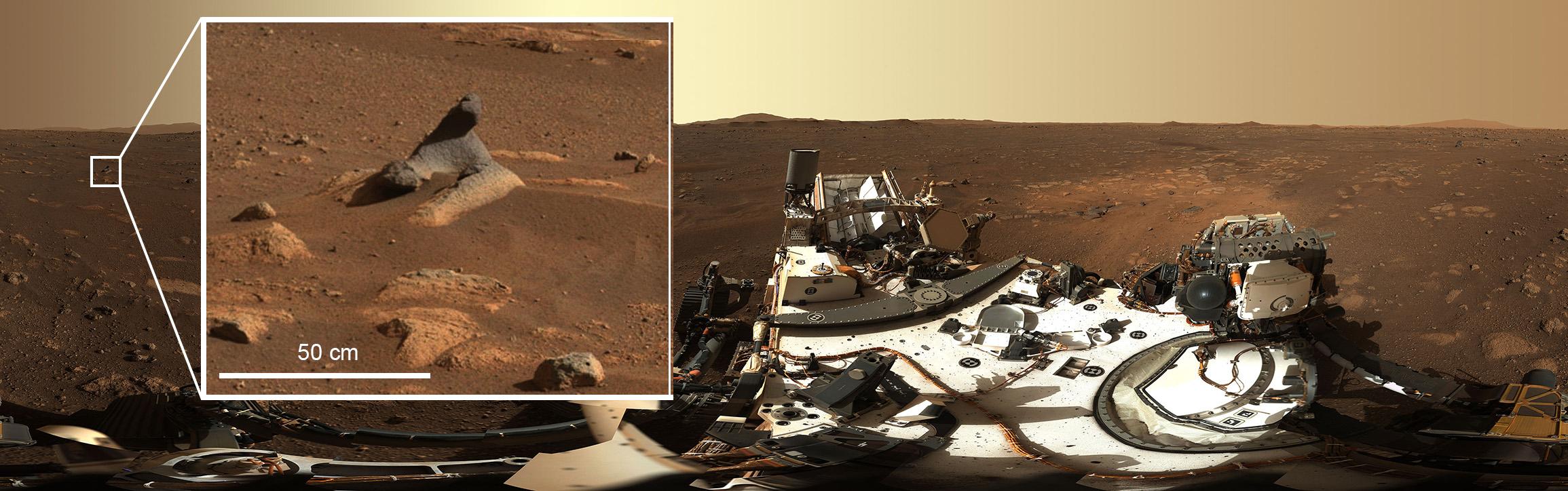 Esta foto de la NASA publicada el 24 de febrero de 2021 muestra al rover Perseverance Mars 2020 cuando obtuvo su primera imagen en alta definición alrededor de su nuevo hogar en el cráter Jezero el 21 de febrero de 2021, después de rotar su mástil, 360 grados , permitiendo que el instrumento Mastcam-Z del rover capture su primera panorámica después de aterrizar en el Planeta Rojo el 18 de febrero de 2021. Esta roca tallada por el viento que se ve en la primera panorámica de 360 grados tomada por el instrumento Mastcam-Z muestra solo cuántos detalles capturan los sistemas de cámaras