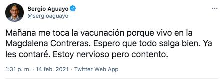 El periodista Sergio Aguayo informó que este lunes se vacunará contra el COVID-19 (Foto: Twitter)