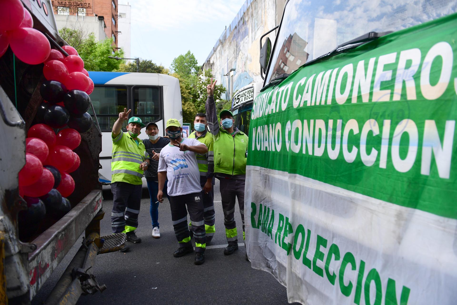 Hubo una gran presencia de trabajadores del sector de la recolección de residuos en el centro porteño