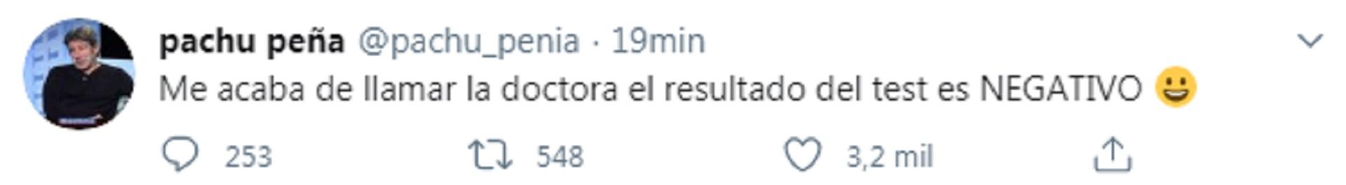Pachu Peña, además, comunicó el resultado de su hisopado a través de su cuenta de Twitter