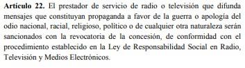 Artículo 22 de la ley contra el odio Venezuela