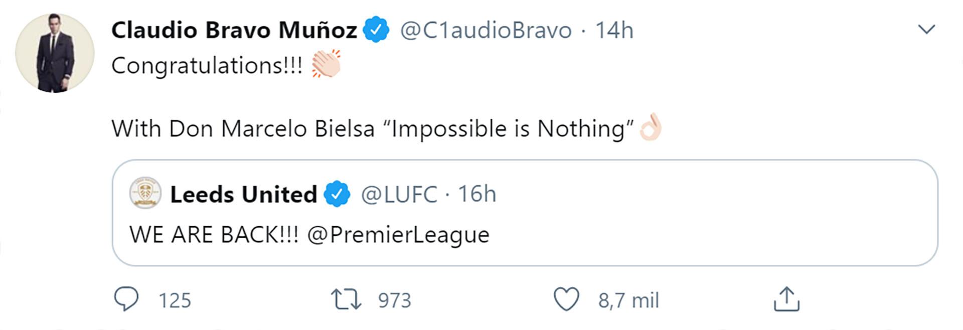 El mensaje de Claudio Bravo para Marcelo Bielsa