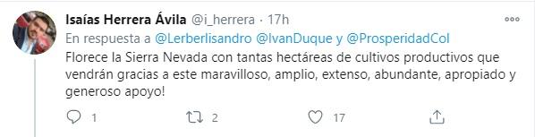 Crítica de un usuario de Twitter respecto a las precarias ayudas entregadas por el gobierno, a los campesinos de la Sierra Nevada de Santa Marta. Foto: Twitter Isaías Herrera.