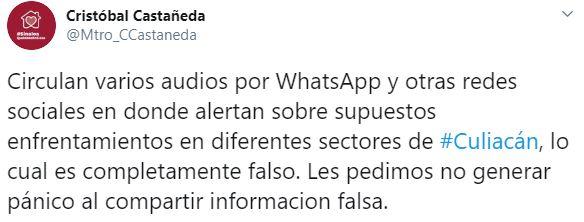 El secretario de Seguridad Pública desmintió los audios donde advertían de un enfrentamiento en Culiacán (Foto: Twitter/Mtro_CCastaneda)