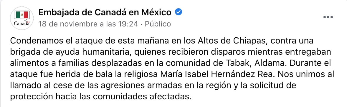 Canadian Embassy in Mexico requests that the violence be stopped (Screenshot)