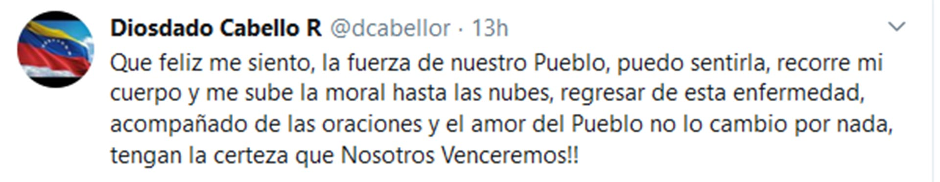 El tuit de Diosdado Cabello luego de haber hablado por teléfono con Maduro