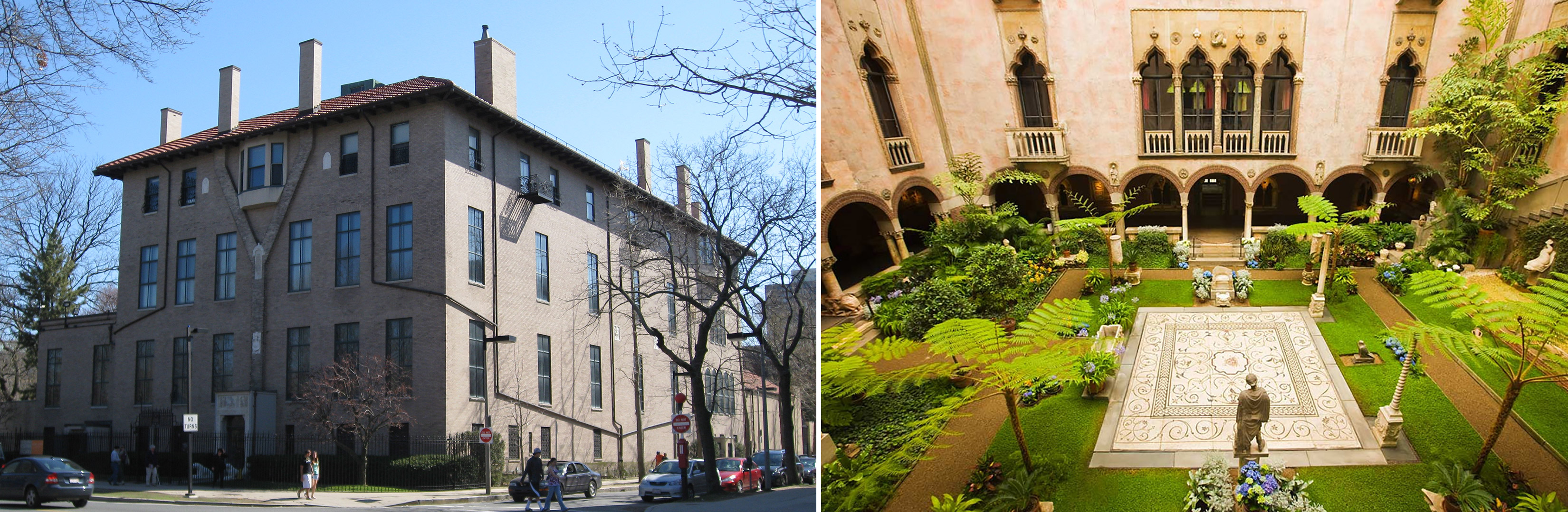 Frente y jardín del Museo Isabella Stewart Gardner