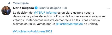 """Mario Delgado aseguró que la decisión del TEPJF es un """"claro golpe a nuestra democracia"""" (Foto: captura de pantalla@mario_delgado)"""