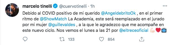 Desde su cuenta de Twitter Marcelo Tinelli anunció el reemplazo de Ángel de Brito (Foto: @cuervotinelli)