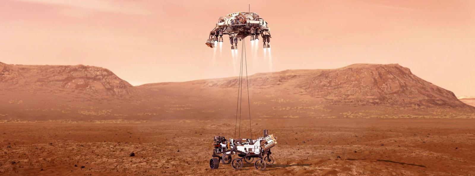 La espectacular llegada de Perseverance a Marte, con un sistema de retrocohetes y grúa - NASA