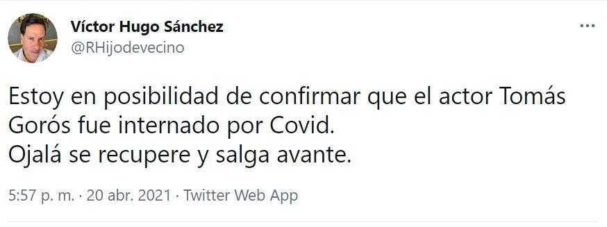 El reportero Víctor Hugo Sánchez fue quien hizo el informe sobre el estado de Tomás Goros (Captura: Twitter)