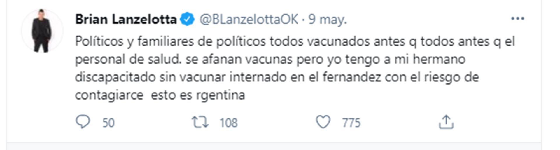El enojo de Brian Lanzelotta en Twitter