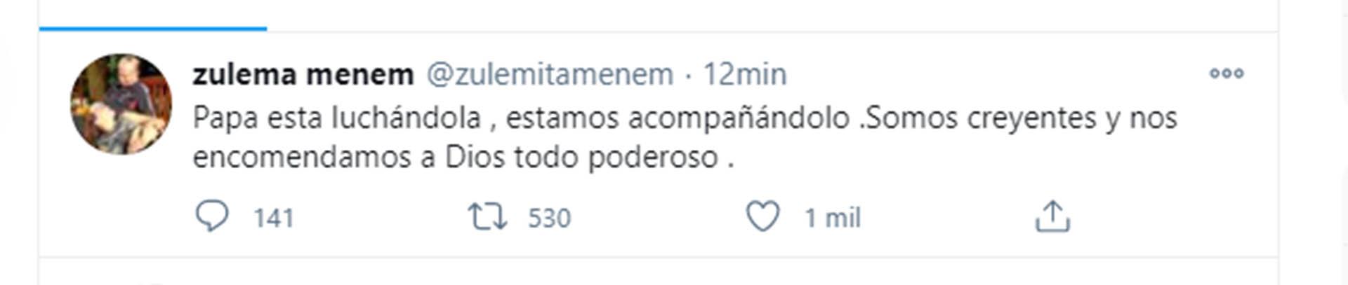 El tuit de Zulemita Menem acerca del estado de salud de su padre