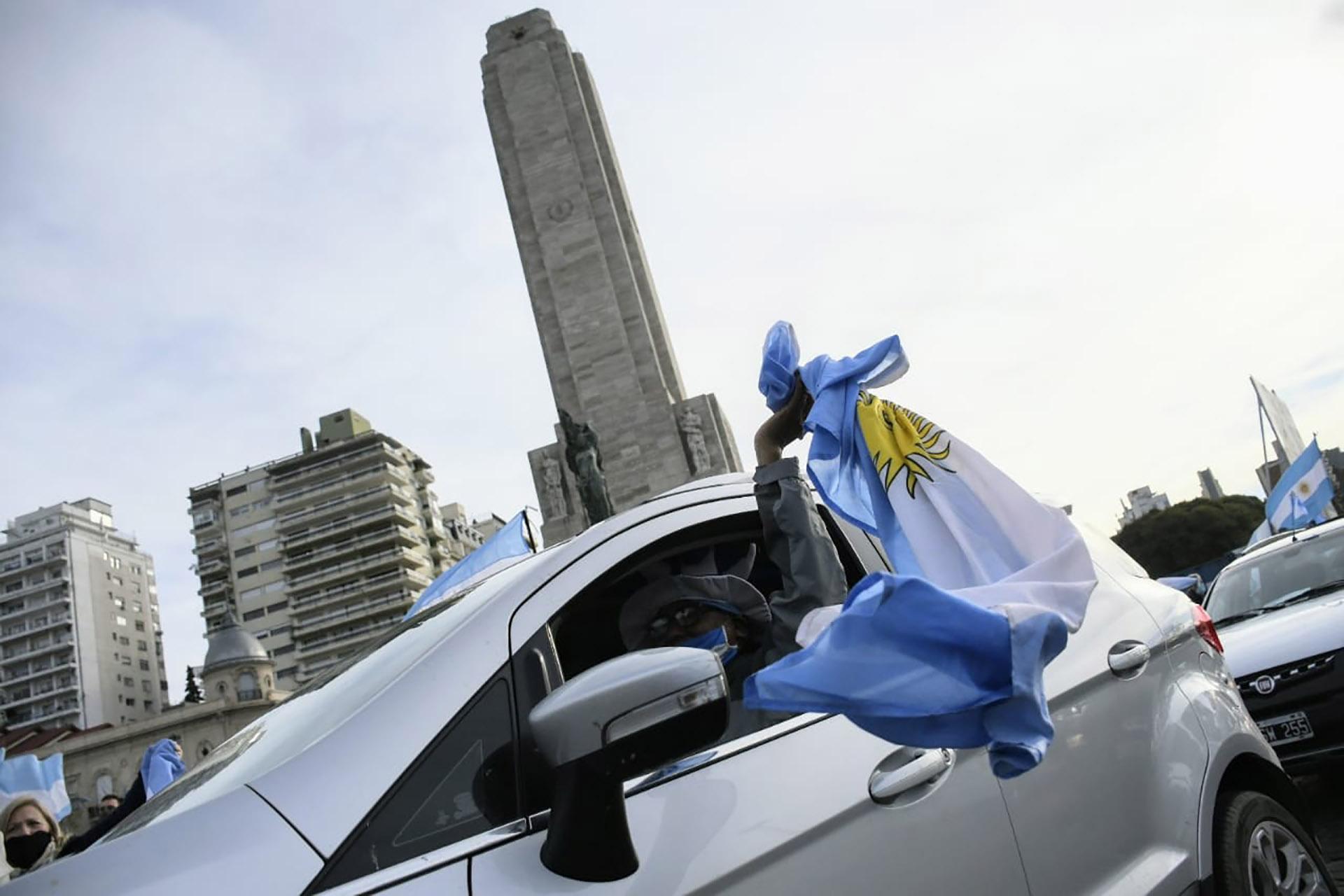 El Monumento a la Bandera, en Rosario, fue otro de los puntos de mayor concentración