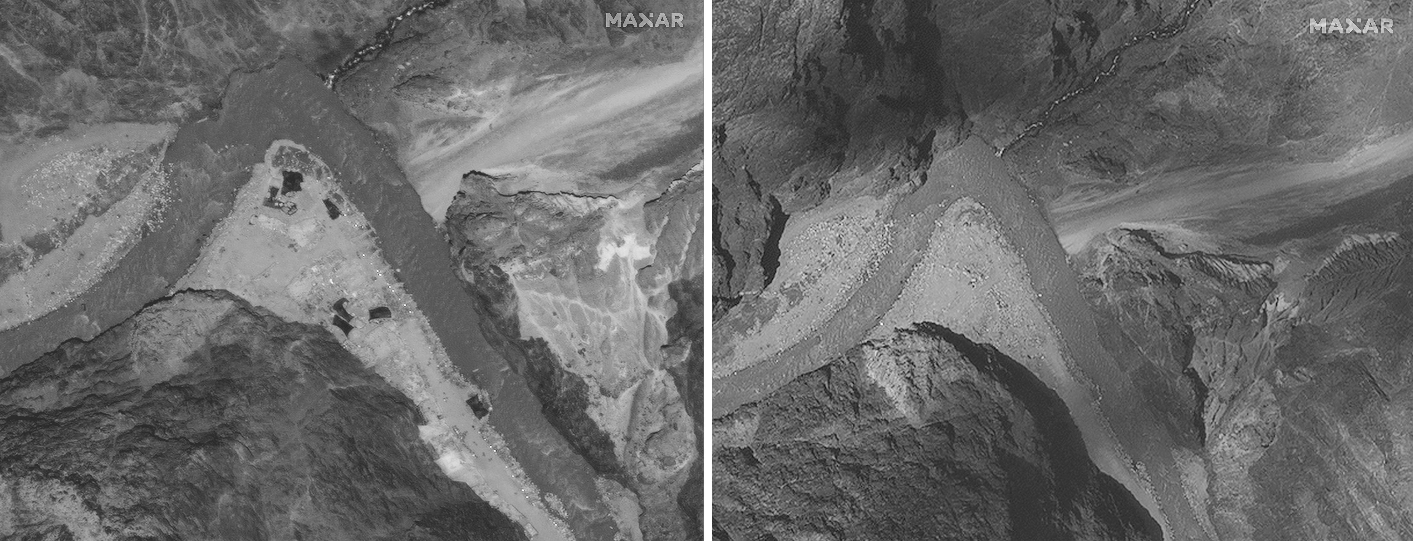 Esta combinación de imágenes satelitales del 28 de junio de 2020 a la izquierda y del 6 de julio de 2020 proporcionadas por Maxar Technologies muestra el valle de Galwan a lo largo de la disputada frontera entre India y China. (Tecnologías Maxar vía AP)